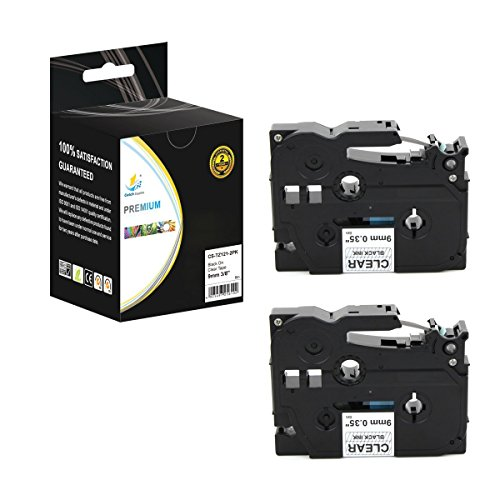 Catch Supplies 2 Pack Replacement TZe121 Black on Clear 3/8 Inch (9mm) Laminated Label Tape - Length 26.2ft (8m) - For use with the Brother P-Touch Label Printers by Catch Supplies