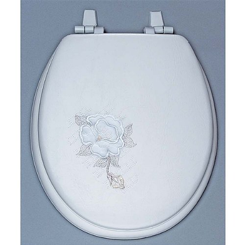Centoco HPS20SR-001 Summer Rose Embroidered Soft Vinyl Round Toilet Seat, White