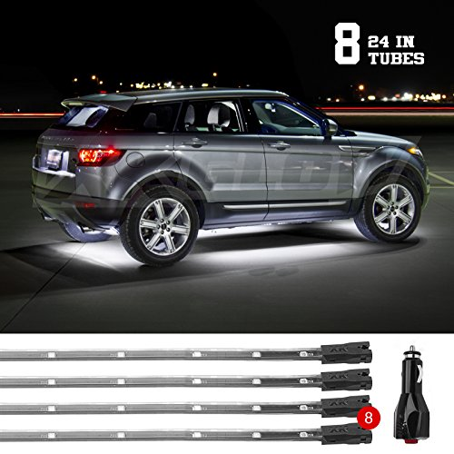 (WHITE 8pcs 24in Tubes 3 Mode Single Color LED Underbody Neon Accent Light Kit Car Truck Plug + Play All Accessories Included)