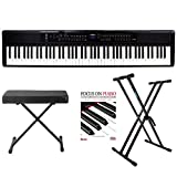 Artesia PE-88 Deluxe 88-Key Mobile Piano (Black) with Power Supply and Pedal with Knox Bench, Keyboard Stand and Focus on Piano Book/CD