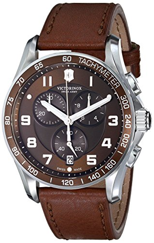 - Victorinox Men's 241653 Classic Stainless Steel Watch with Brown Leather Band