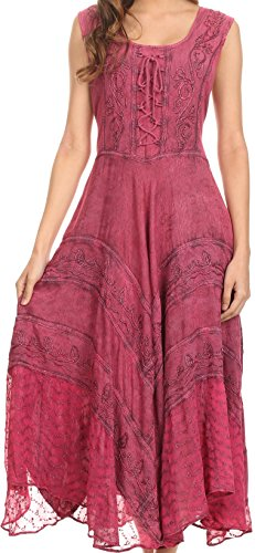 Sakkas 223 Kevina Stonewashed Rayon Embroidered Dress - Orchid - 1X/2X