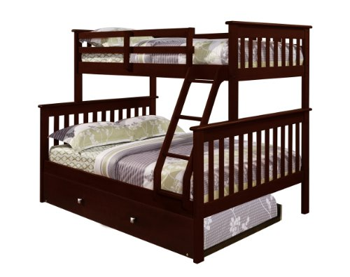 DONCO Bunk Bed Twin over Full Mission Style in Cappuccino Trundle