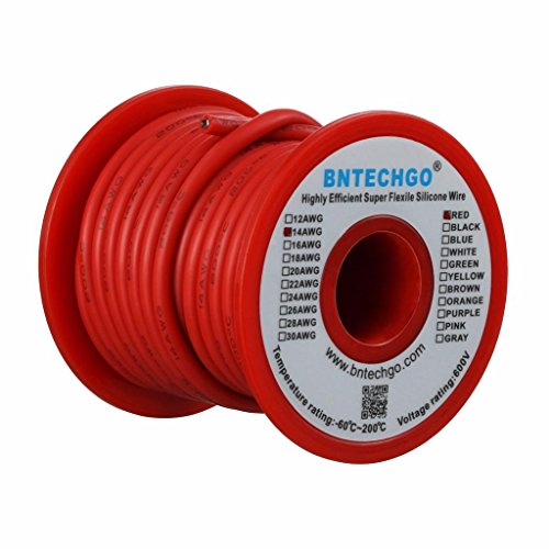 14g Four - BNTECHGO 14 Gauge Silicone Wire Spool Red 25 feet Ultra Flexible High Temp 200 deg C 600V 14AWG Silicone Rubber Wire 400 Strands of Tinned Copper Wire Stranded Wire for Model Battery Low Impedance