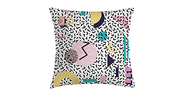 Ambesonne 90s Throw Pillow Cushion Cover Geometric Pattern in Retro Style with Round Half Moon Triangle Shapes Artwork Navy Yellow Pink Decorative Square Accent Pillow Case 18 X 18 Inches