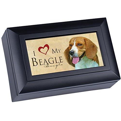 Cottage Garden Love My Beagle Matte Black Jewelry Music Box Plays Wonderful World