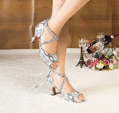 Minishion Womens Th125 Cross Strap Gesp Satijn Bruiloft Ballroom Latin Taogo Dance Sandalen Wit