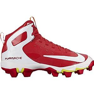 NIKE Men's Alpha Huarache Keystone Mid Baseball Cleat University Red/White Size 9 M US