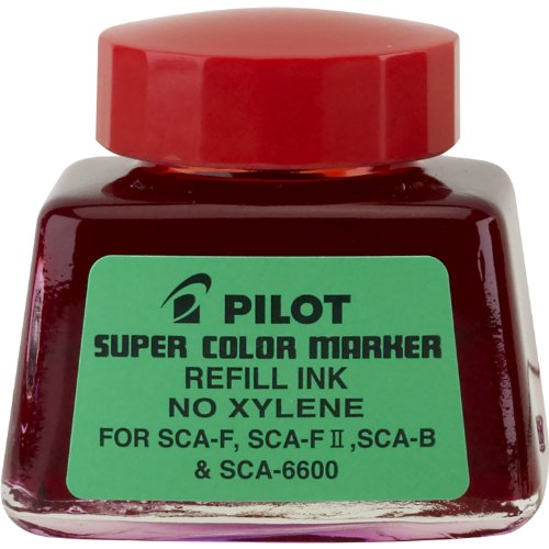 Pilot Super Color Permanent Marker Refill Ink, Xylene-Free, 1 Ounce Bottle with Dropper, Red Ink (48700) by Pilot