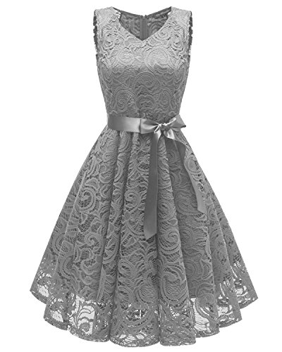 Aecibzo Women Floral Lace Bridesmaid Party Dress Short Prom Dress V Neck (S, Grey) Teen Girls Grey Dress