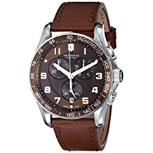 """Victorinox Swiss Army Men's 241653 """"Classic"""" Stainless Steel Watch with Brown Leather Band"""