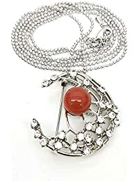 red Gemstone Luxury Flower Scarves Buckle Shawl Clasp...