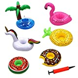 Inflatable Cup Holder, Swimming Drink Holder Floating Coasters Toy for Pool Party, Kids Bath, Swimming, Birthday Parties and Lots More Water Activities (6 pcs Cup Holder + 1pc Inflatable)