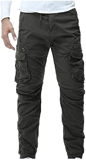 Candiyer Men Relaxed Straight Leg Pure Color Pocket Trousers Cargo Pant