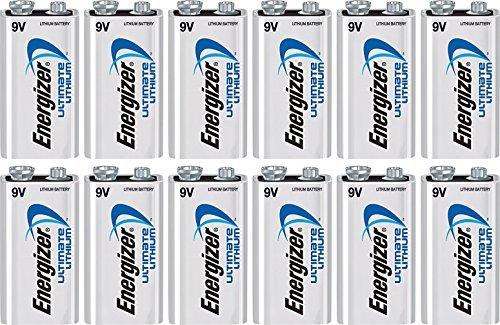12 Energizer 9V Ultimate Lithium Batteries L522 Bulk