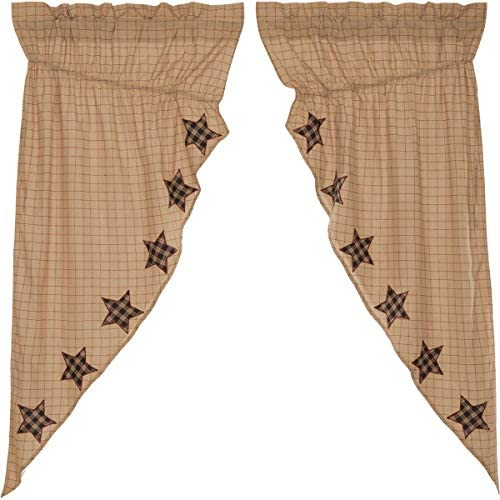 VHC Brands Bingham Star Prairie Short Panel Applique Star Set of 2 63x36x18 Country Curtain