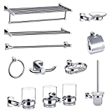 HARPOON All Copper Bathroom Accessories, Toilet Paper Holder, Soap Dish, Towel Ring, Towel Rack, Toilet Brush, Toothbrush Cup, Clothes Hanger, Brushed Nickel, Chrome (Bathroom Accessories Set)