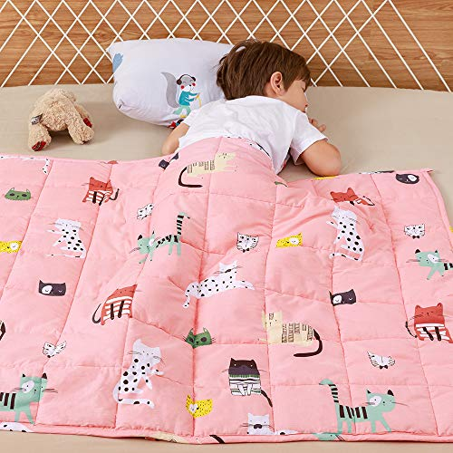 Wemore Kids Weighted Blanket 5 lbs 36 x 48 inches,100% Natural Cotton and Premium Glass Beads Heavy Weight to Relax and Stimulate Quality Sleep, Pink Cat