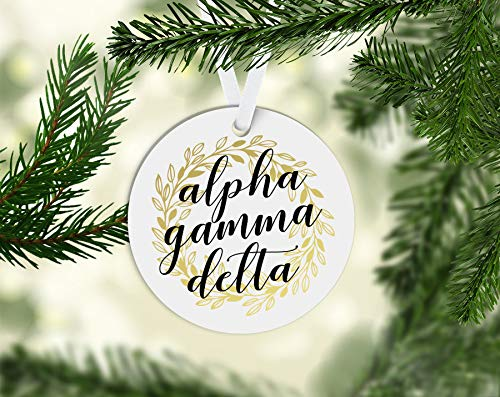 Susie85Electra Agd Alpha Gamma Delta Gold Wreath 3 Inch Porcelain Novelty Christmas Ornament