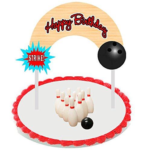 Cake/Food/Cupcake/Desert Decoration Banner Decorating Topper Kit (Bowling) Bowling Birthday Cake