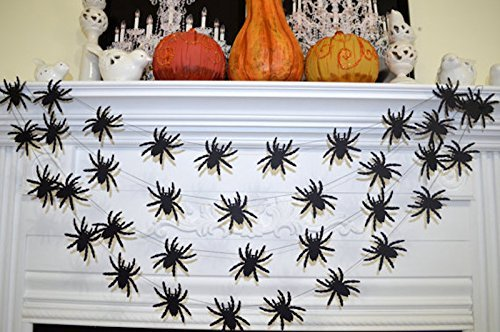 Tarantula spider garland, halloween spider decoration, halloween party decor, black widow spider garland, spider photo prop ()