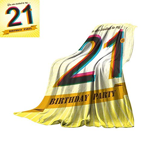 RenteriaDecor 21st Birthday,Blanket Invitation to an Amazing Birthday Party on a Golden Colored Backdrop Image Custom Blankets W60 x L35 inch ()