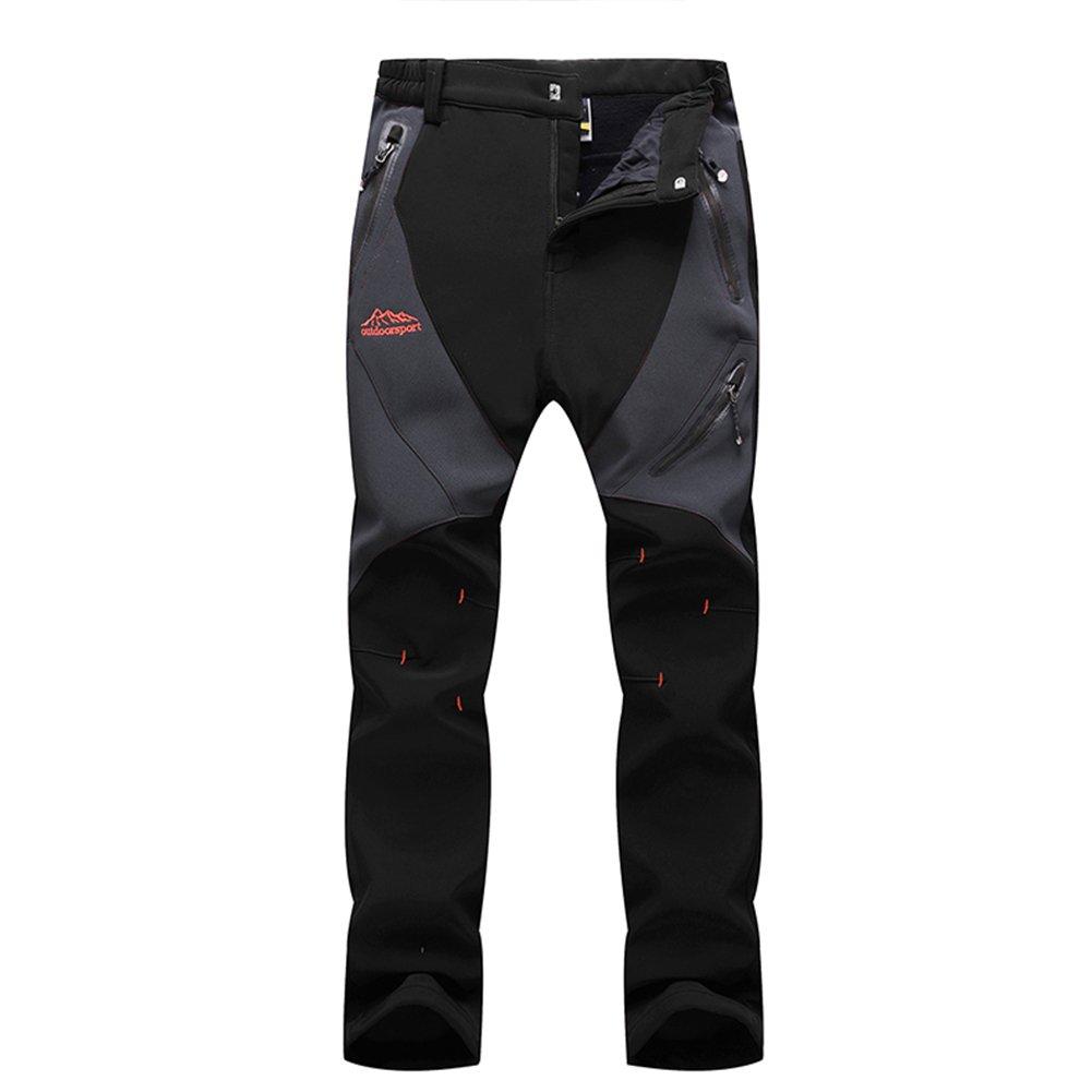 gitvienar冬防風防水通気性Cargo暖かいフリース雪パンツアウトドアハイキングスキーパンツの女性 B074TB3YCX Large|ブラック ブラック Large