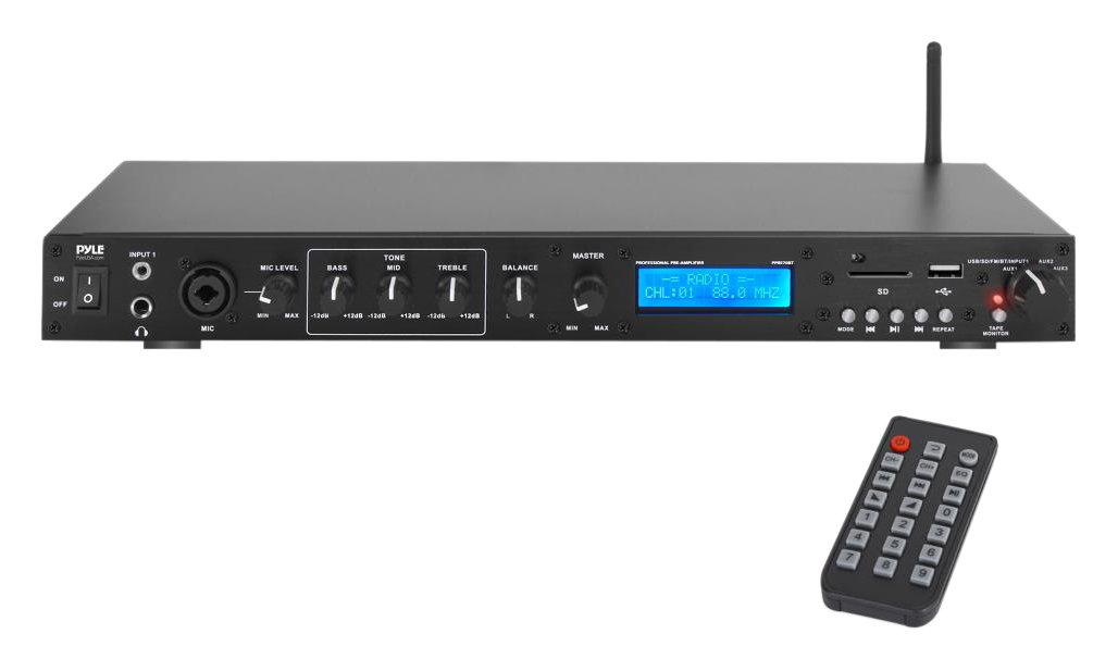 Pyle Pro Rack Mount Studio Pre-Amplifier - Audio Receiver System w/ Digital LCD Display Bluetooth FM Radio Recording Mode Remote Control USB Flash or SD Card Reader Input and Output Jack - PPRE70BT