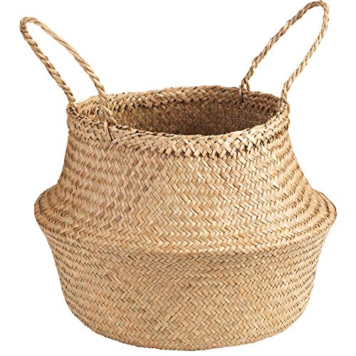 Welcare Natural Woven Seagrass Tote Belly Basket for Storage, Laundry, Picnic, Plant Pot Cover, and Beach Bag (Natrual) ()