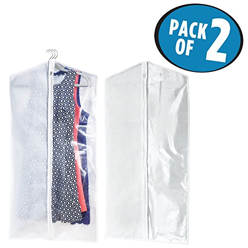mDesign Hanging Garment Travel and Storage Bag for Dresses, Suits, Jackets, Coats - Breathable Fabric, Clear Easy-View Window, Zipper Closure - 42