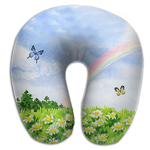 Rainbow Butterflies Travel Pillow Feagar Compact & Portable Cover Washable Soft Memory Foam U Shaped Neck Pillow (White Rainbow Snap Butterfly)