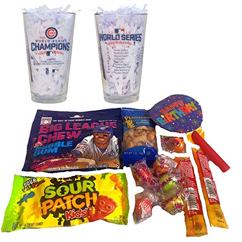 (Cubs Birthday Gifts of 1 Pint Beer Glass Team Roster with Nuts, Jerky, Gum, Sour Candy & Gumballs)