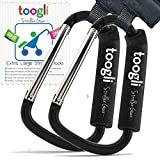 X-Large Stroller Hook Set By Toogli. Two Great Organizer Baby Accessories for Hanging Diaper & Shopping Bags & Purses. Clip Fits All Single/Twin Travel Systems, Baby Joggers and Wheelchairs.