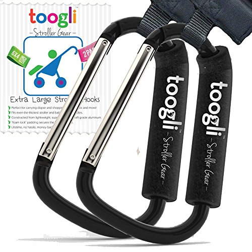 The BETTER XL Stroller Hook Set By Toogli. Two Great Organizer Baby Accessories for Any Mommy or Daddy. Hangs Diaper/Shopping Bags, Purses and More. Clip Even Fits Uppababy Vista and Uppababy Cruz. (Stroller Strap Replacement)