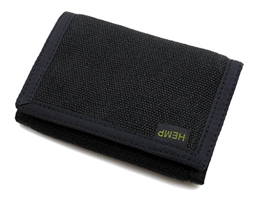 Hempmania Hemp Eight Compartment Tri-fold Wallet – Black – One Size