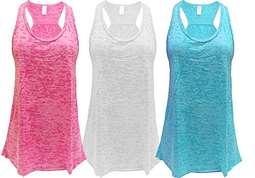 Epic MMA Gear Flowy Racerback Tank Top, Burnout Colors, Regular and Plus Sizes, Pack of 3 (2XL, Pink/White/Blue)