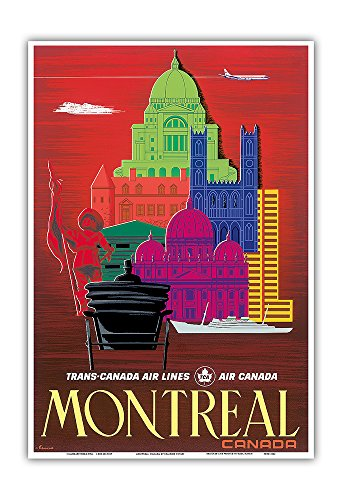 Pacifica Island Art Montreal, Canada - TCA (Trans-Canada Air Lines) - Air Canada - Vintage Airline Travel Poster by Egmond c.1960s - Master Art Print - 13in x 19in