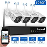 1080P Wireless Security Camera System, Firstrend 8CH Wireless NVR System With 4pcs 1080P Security IP Camera and 2TB Hard Drive Pre-installed, 65ft Night Vision and Easy Remote Monitoring
