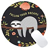 Wknoon Cute Baby Sloth Inspirational Quotes Round Mouse Pad, Follow Your Dreams Quote Sloth On The Tree Circular Mouse Pads
