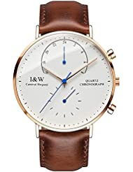 Carlien Mens Dual Time Zone Analog Quartz Watch Extra Flat Luminous Rose Gold Stainless Steel Case (Brown)