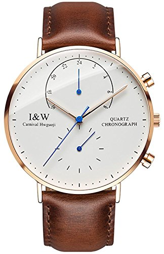 carlien Men's Dual Time Zone Analog Quartz Watch Extra Flat Luminous Rose Gold Stainless Steel Case (Brown)