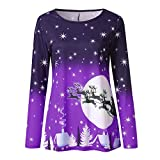 Women's Tops Long Sleeve Round Neck Christmas Print Casual...