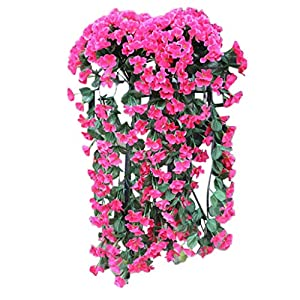 Respctful✿ Flowers Artificial for Decoration Wall Wisteria Basket Fake Silk Rattan Plant Garden Floral Hanging Baskets Decor Hot Pink 26