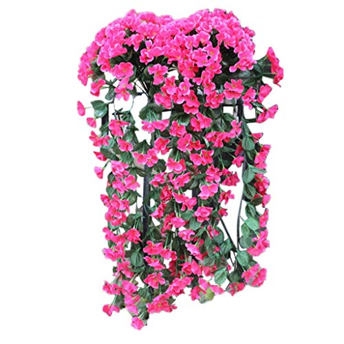 Hanging Flowers Plants,Artificial Violet Flower Wall Wisteria Basket Hanging Garland Vine Flowers Fake Silk Orchid Simulation Rattan Plant Vine Wedding Home Garden Balcony Floral Decoration (Hot Pink)]()