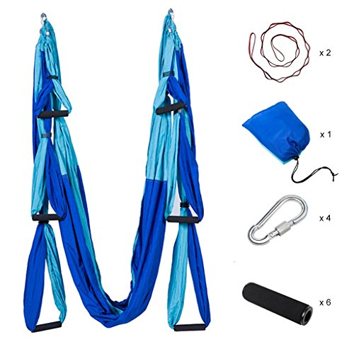 XMX Ultra Strong Antigravity Yoga Hammock/Trapeze/Sling for Antigravity Yoga Inversion Exercises - 2 Extensions Straps Included