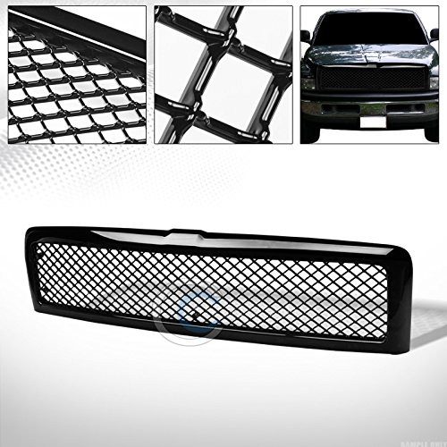 R&L Racing Glossy Black Finished Mesh Front Grill Hood Bumper Grille 1994-2001 for Dodge Ram 1500/2500 / 3500