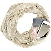 Docooler Fashion Women Winter Convertible Infinity Scarf with Zipper Pocket Solid Color Loop Scar