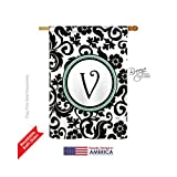Breeze Decor H130074 Damask V Initial Vertical House Flag, 28″ x 40″, Multicolor Review