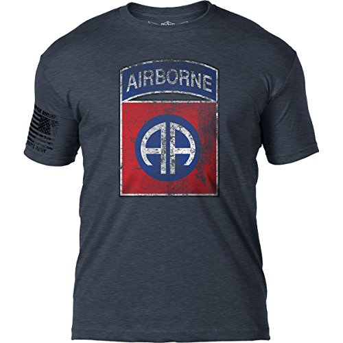 7.62 Design Army 82nd Airborne Division 'Distressed' Patriotic Men's T Shirt,Heather ()