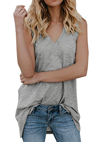 Gemijack Womens Tank Tops V Neck Sleeveless Casual Summer Loose Fit Cotton Long Tunic Shirts -